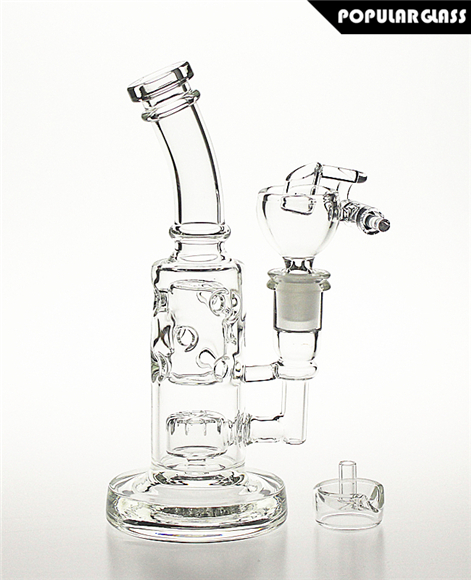 Mini Straight Fab Rig Bong Slits Perc Clear