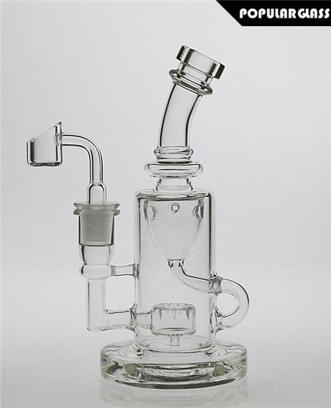 Klein Dab Rig Outside Recycler Bong Slits Perc Small Clear