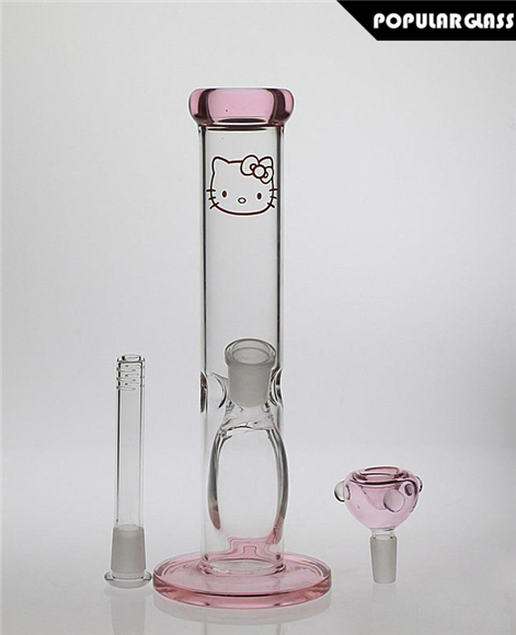 Straight Tube Bong Diffusion Perc Hello Kitty Pink