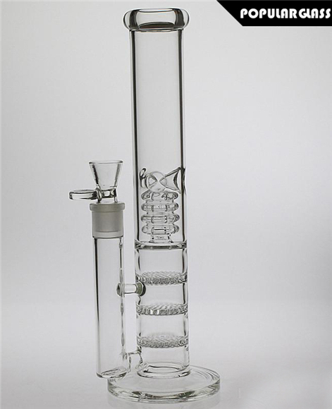 Staight ROOR Bong With Triple Honeycombs Perc and Birdcage Perc Small Clear