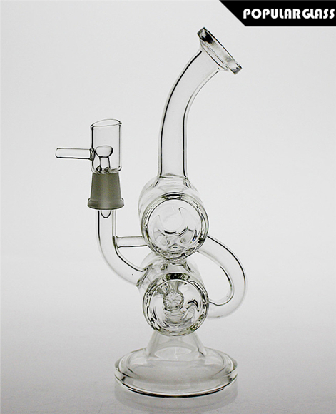 20CM Tall Glass Recycler Oil Rigs Diffusion Perc Glass Bong joint size 14.4mm